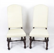 Bespoke Pair of Carolean Style Upholstered High Back Dining chairs
