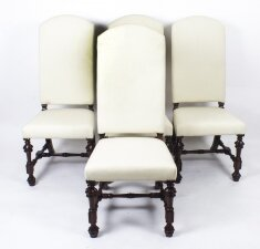 Bespoke Set 4 Carolean Style Upholstered High Back Dining chairs
