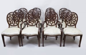 Bespoke Set 12 English Spyder Back Mahogany Dining Chairs