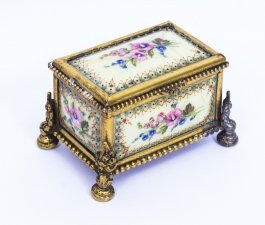 Antique Ormolu Mounted Limoges Enamel Jewel Casket Box