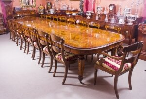 Huge Bespoke Handmade Marquetry Burr Walnut Extending Dining Table 18 Chairs