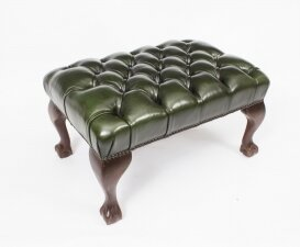 Bespoke Chippendale Ball & Claw Leather Stool Emerald Green