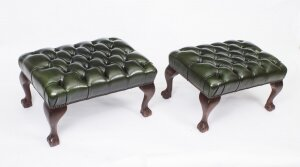 Bespoke Pair of Chippendale Ball & Claw Leather Stools Emerald Green