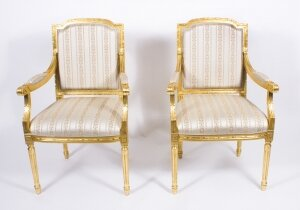 Pair Bespoke French Louis XVI Carved Giltwood Armchairs