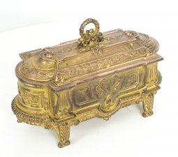 Antique Decorative French Ormolu Casket 19th C