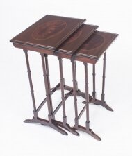 Antique Victorian Mahogany & Inlaid Nest of 3 Tables