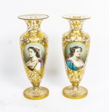 Antique Pair Bohemian Opaline Flashed Gilded Crystal Portrait Vases 19th C
