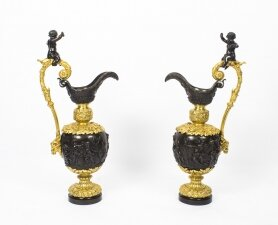 Antique Large 76cm Pair of French Gilt Bronze Ewers