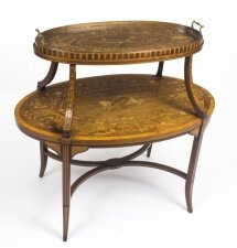Antique English Mahogany & Satinwood Etagere Tray Table