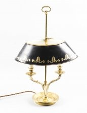 Vintage French Ormolu & Toleware Bouillotte Lamp, Mid Century