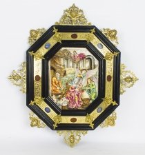 Antique Italian Framed Capodimonte Porcelain Plaque Early 19th Century 51x45cm