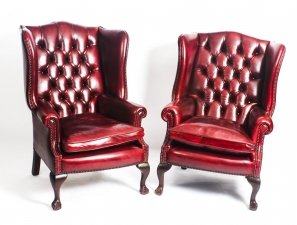 Bespoke Pair Leather Chippendale Wing Back Armchairs Ruby Red