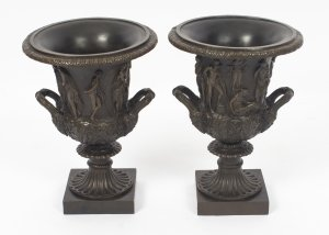 Antique Pair Grand Tour Borghese Bronze Campana Urns 19th C
