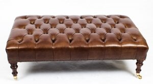 Bespoke Large Leather Stool Ottoman Coffee table Hazel 4ft x 2ft 6inches