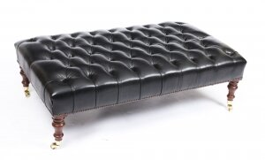 Bespoke Large Black Leather Stool Ottoman Coffee table 4ft x 2ft 6inches