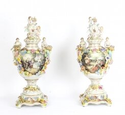 Stunning Pair Large Dresden Style Hand Painted Porcelain Vases 20th C