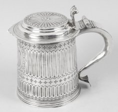 Antique Queen Anne English Silver Lidded Tankard & 34 LE& 34 1703