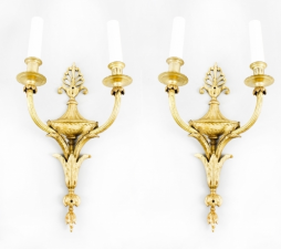 Antique Pair Regency Style Ormolu Wall Lights Appliques 19th C