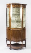 Antique Edwardian Half Moon Glazed Inlaid Mahogany Display Cabinet C1900