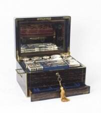Antique English Coromandel & Silver Dressing Case by Leuchars 19th C