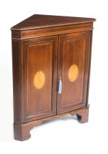 Antique Mahogany & Satinwood Inlaid Low Corner Cabinet