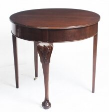 Antique Victorian Mahogany Demi Lune Card Console Tea Table 19th C