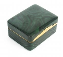 Antique Solid Malachite & Gold Lidded Box Casket 19th Century