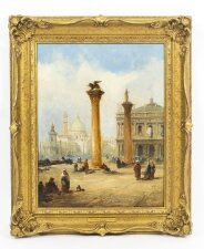 Antique Oil Painting The Columns of St. Marks Square J.Vivian 19th C