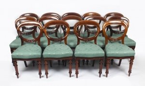 Antique Set 14 Victorian Mahogany Balloon Back Dining Chairs 19th Century
