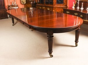 Antique 14ft Victorian Flame Mahogany Circular Extending Dining Table 19th C