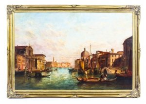 Antique Oil Painting Grand Canal Venice Alfred Pollentine