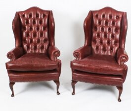 Bespoke Pair Leather Queen Anne Wingback Armchairs Chestnut