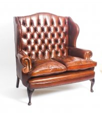 Bespoke English Leather Queen Anne Club Settee Sofa Burnt Amber