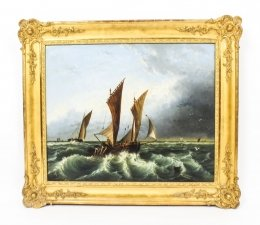Antique Oil on Canvas Seascape Painting 19th Century