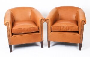 Bespoke Pair English Handmade Amsterdam Leather Arm Chairs Tan