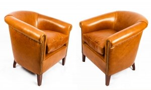 Bespoke Pair English Handmade Amsterdam Leather Arm Chairs Bruciato