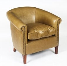Bespoke English Handmade Amsterdam Leather Arm Chair Saddle