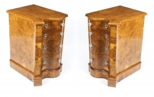 Antique Victorian Pair Pollard Oak Bedside Chests Cabinets 19th Century