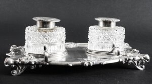 Antique English Silver Inkstand Cut glass Wells J Dixon 1899 19th Century