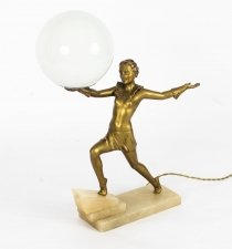 Antique Art Deco Gilded Dancing Lady Lamp