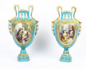 Antique Pair of French Sevres Porcelain Bleu Celeste Vases 18th Century