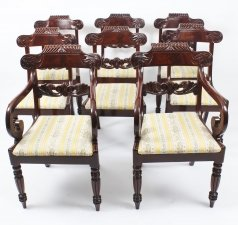 Antique Set 8 Regency Flame Mahogany Dining Chairs Manner of Gillows
