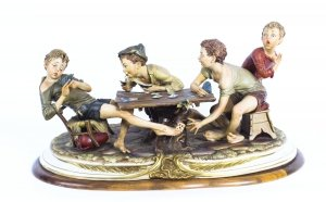 Vintage Italian Capodimonte Porcelain & 34 The Card Cheats& 34 by Merli Late 20th C.