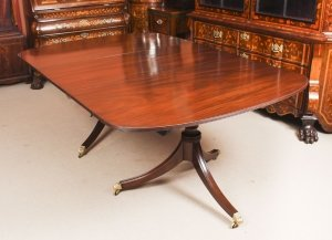 Antique 7ft George III Regency Flame Mahogany Twin Pillar Dining Table 19th C