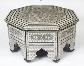 Vintage Inlaid Damascus Mother of Pearl Coffee Table Mid 20th Century