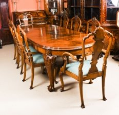 Antique Edwardian Queen Anne Revival Dining Table & 8 Chairs