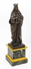 Antique Large French Bronze of Sainte Maria by De Beaumont 19th Century