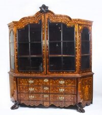 Antique Dutch Marquetry Walnut Display Cabinet Vitrine 19th C