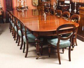 Antique 12 ft Victorian D end Mahogany Dining Table & 14 chairs 19th C