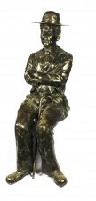 Stunning Lifesize Bronze Sculpture of Seated Charlie Chaplin 20th Century